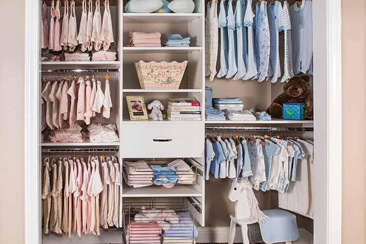 Designs for reach-in closet systems for baby's room