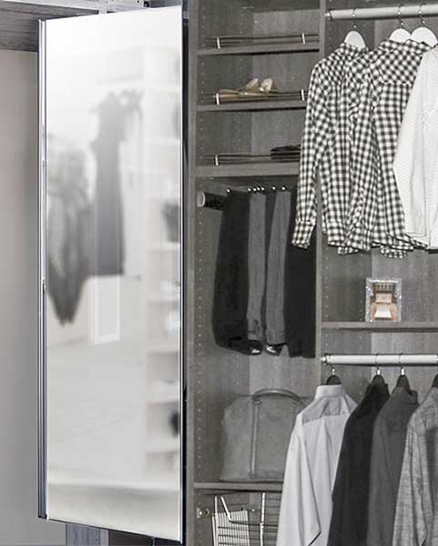 built in closets ideas include a mirror and closet drawers system