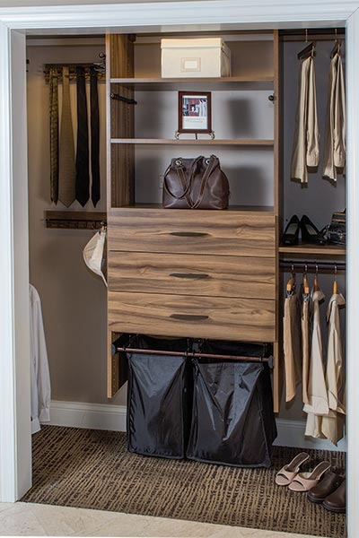 reach in closet with pull out hamper