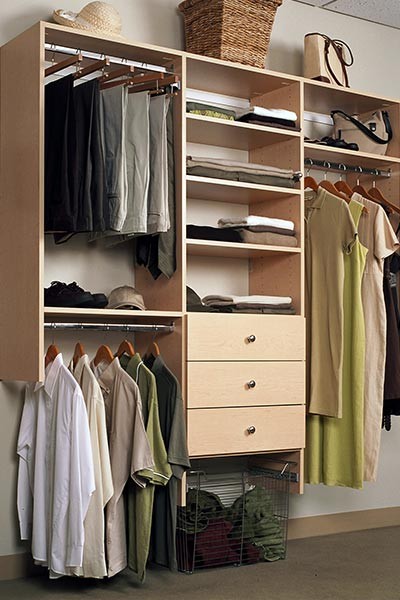 Design for small reach-in closet to increase storage