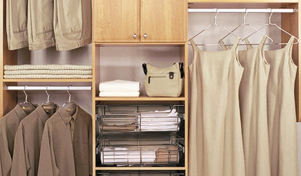 Reach-in closet with central shelving covered by upper cabinet doors
