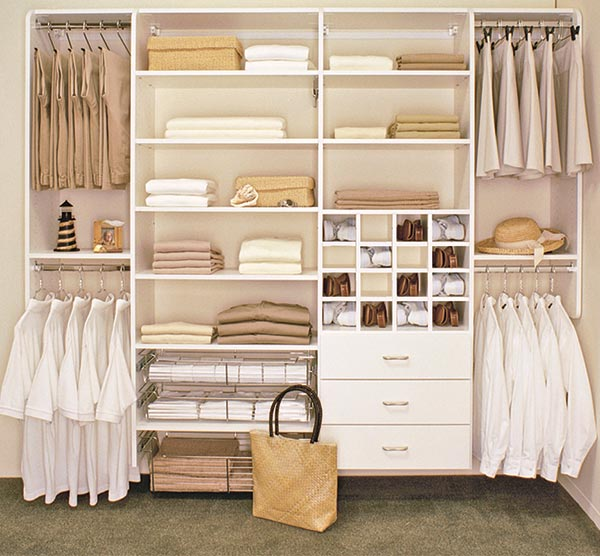 White Reach In Custom Closet Design Has Baskets Drawers Shoe Storage