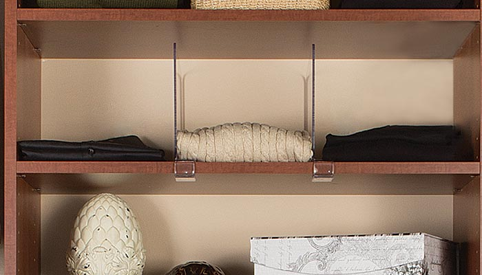 bedroom closet organizers: acrylic shelf divider