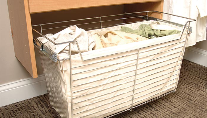 Bedroom closet organizers: wire basket hamper with canvas liner