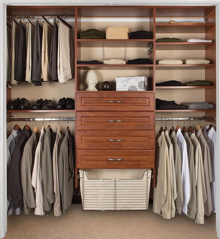 Closet systems with drawers, shelf dividers and hamper for bedroom