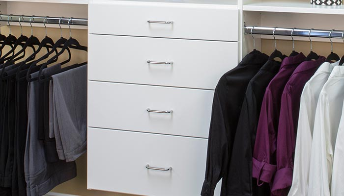 White closet systems with full bore panels for maximum flexibility and storage