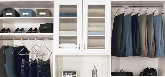 Reach-in closet ideas: cabinets with glass doors