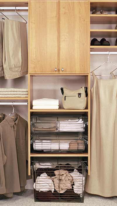 Closet with pull-out baskets used in place of drawers