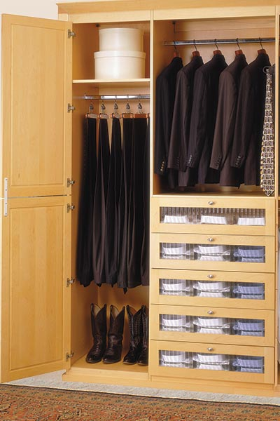 closet design idea with built in seating