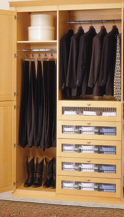 custom walk in closet with reeded glass door inserts in Unity