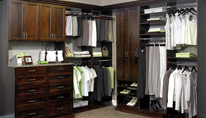 dark wood closet system in Cocoa thermally fused laminate - TFL