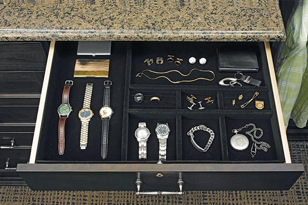 Custom jewelry drawer inserts in custom closet system