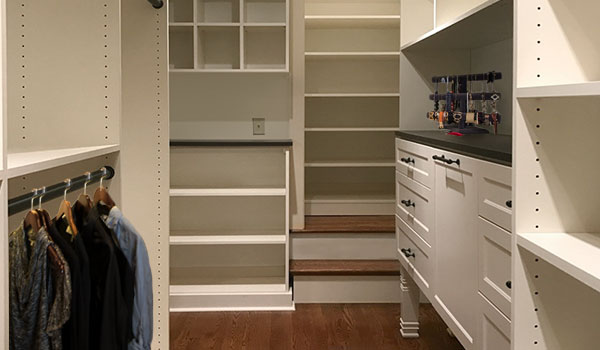 Custom ivory walk-in closet ideas for long and narrow space