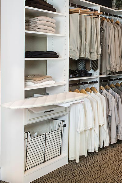 ... Built In Fold Away Ironing Board In Custom Closet System