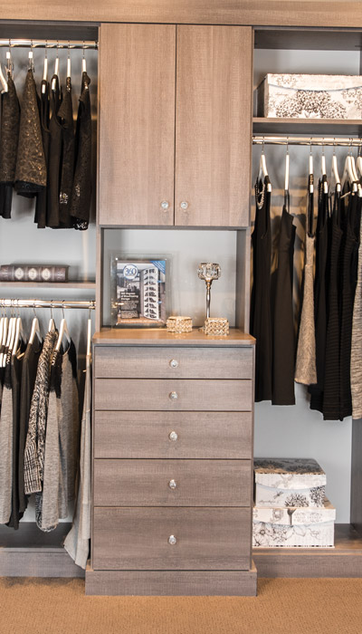 drawer dividers separate lingerie and small items in walk in closet