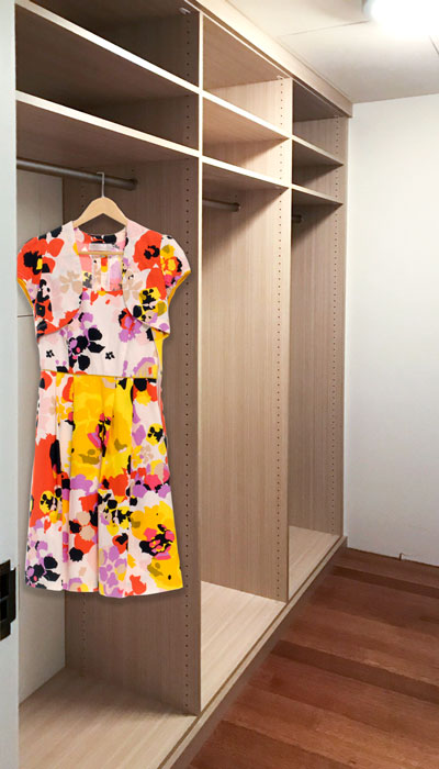 custom walk-in closet in Summer Breeze thermally fused laminate - TFL