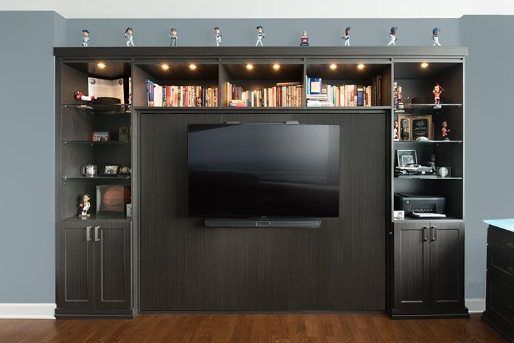 Some space saving guest beds can become an entertainment center for electronics