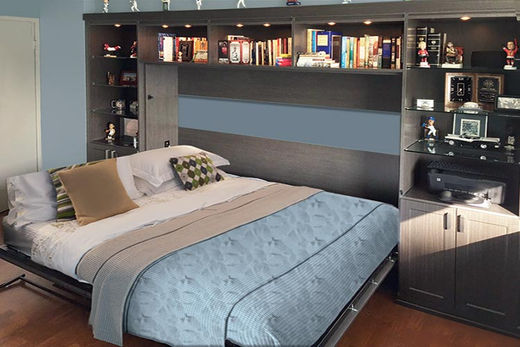 horizontal wall bed and media center system