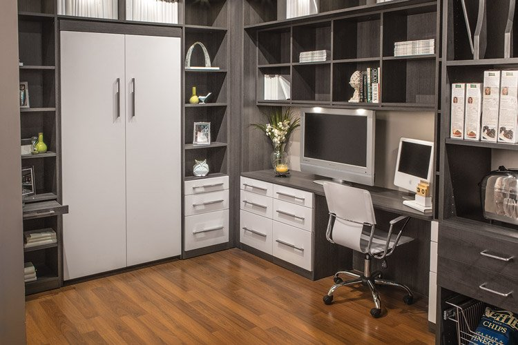 custom murphy style wall bed office with fold away desk