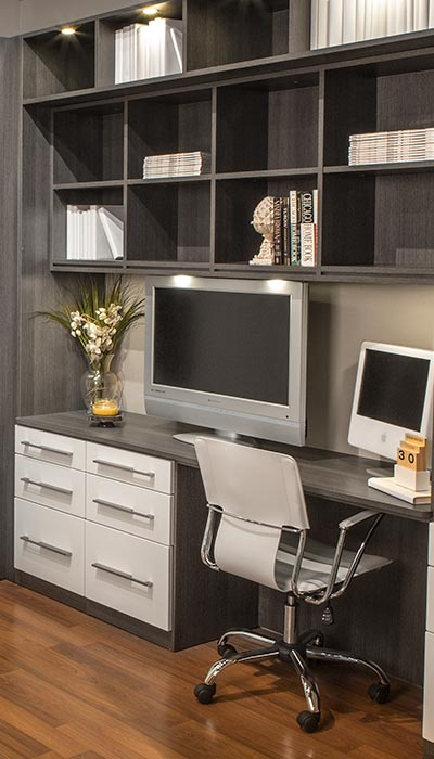 Modern Murphy bed and desk area for guest room/office