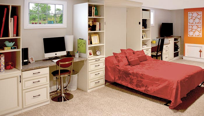 Rec room in basement with queen-size Murphy bed and built-in desks