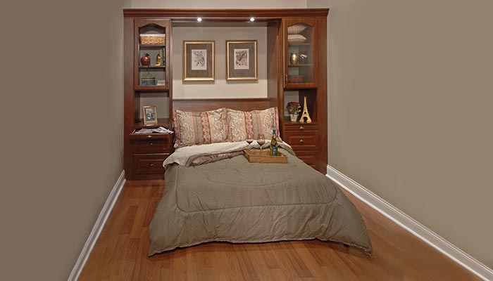 Guest Room With Wall Bed Unit Featuring Foldaway Bed