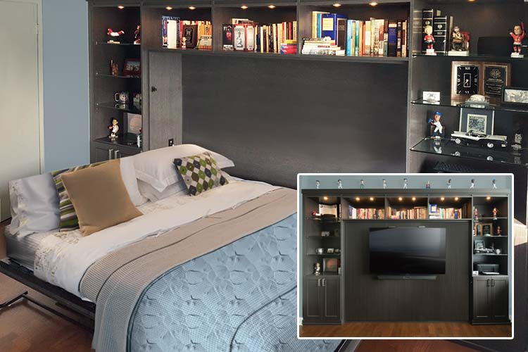 Horizontal murphybed transforms office to guest bedroom