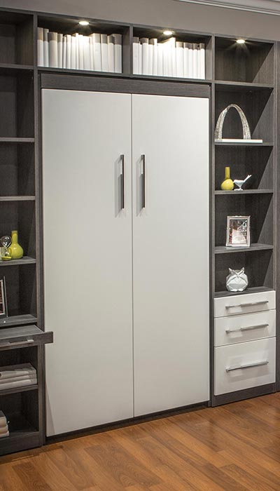 Twin size Murphy bed looks like a cabinet when closed