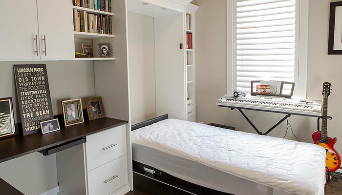 Hidden beds for small spaces are perfect in a music room