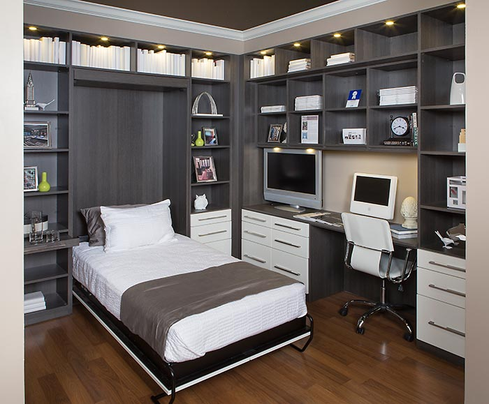 Home office with hidden wall bed Bedroom office combo furniture