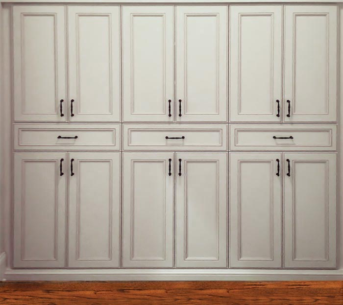 Doors In Portabella Ivory With Chateau Oil Rubbed Bronze Handles Wardrobe  Closet System Customized As A Large, Built In Linen Closet