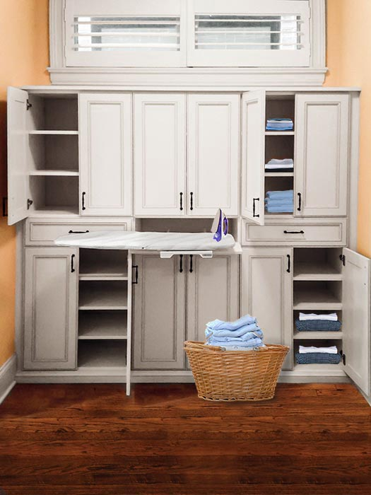 drawer style built-in ironing board for linen closet