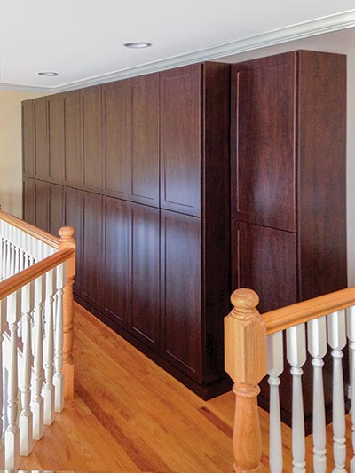 Wardrobe Cabinets Finished With Doors Design Converts Long Wasted Hallway To Useful Wall Storage