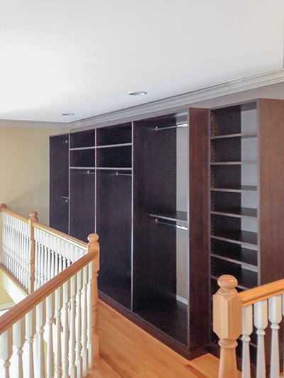 Wardrobe cabinets custom hall closet design includes shelving and rods for clothing