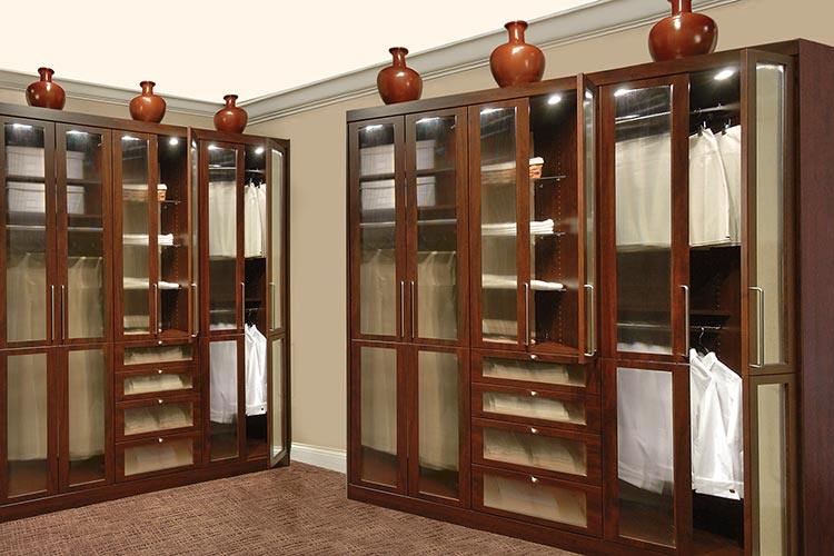 Custom Wardrobe Closet Design For Wardrobes With Polished Chrome Handles  And Glass Doors