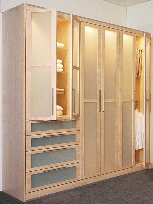 Professionally designed wardrobe style floor based closet system