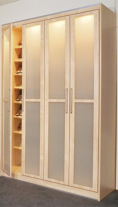 For Her Contemporary Wardrobe With Frosted Closet Doors And Drawers