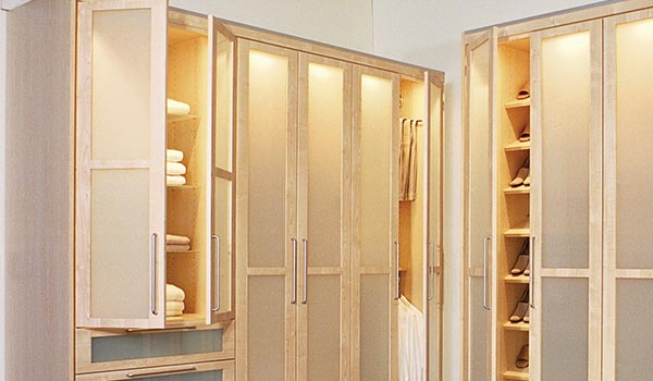 Contemporary wardrobe closet with glass doors for custom wardrobes
